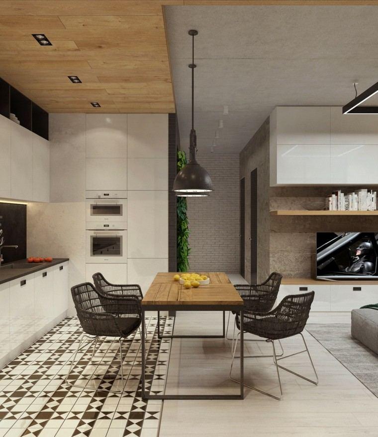 comedor cocina cemento pulido mesa