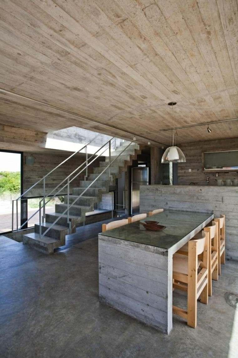 comedor cocina isla cemento hormigon