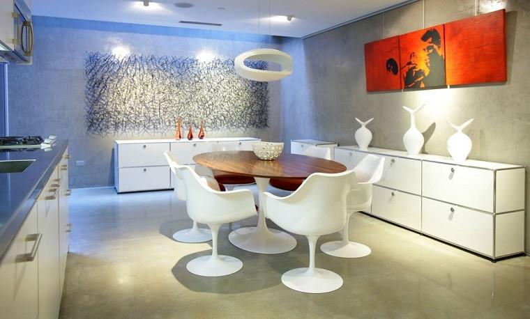 comedor moderno cuadro naranja decoracion pared preciosa ideas