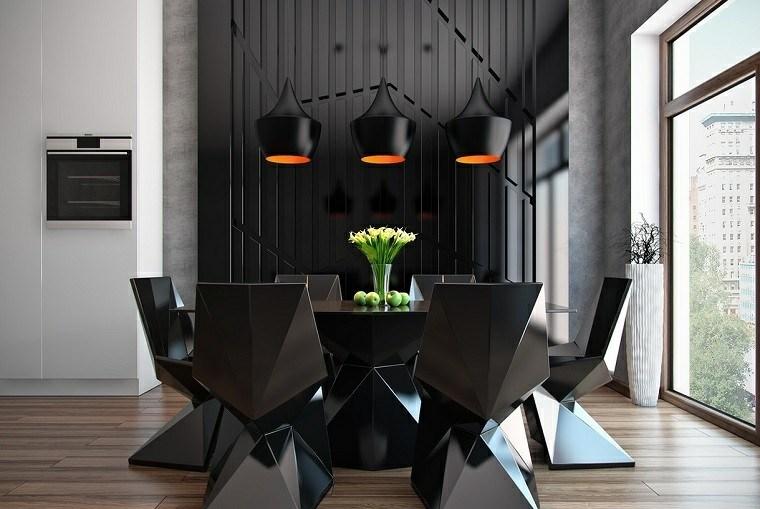 comedor moderno elegante negro sillas diseno ideas