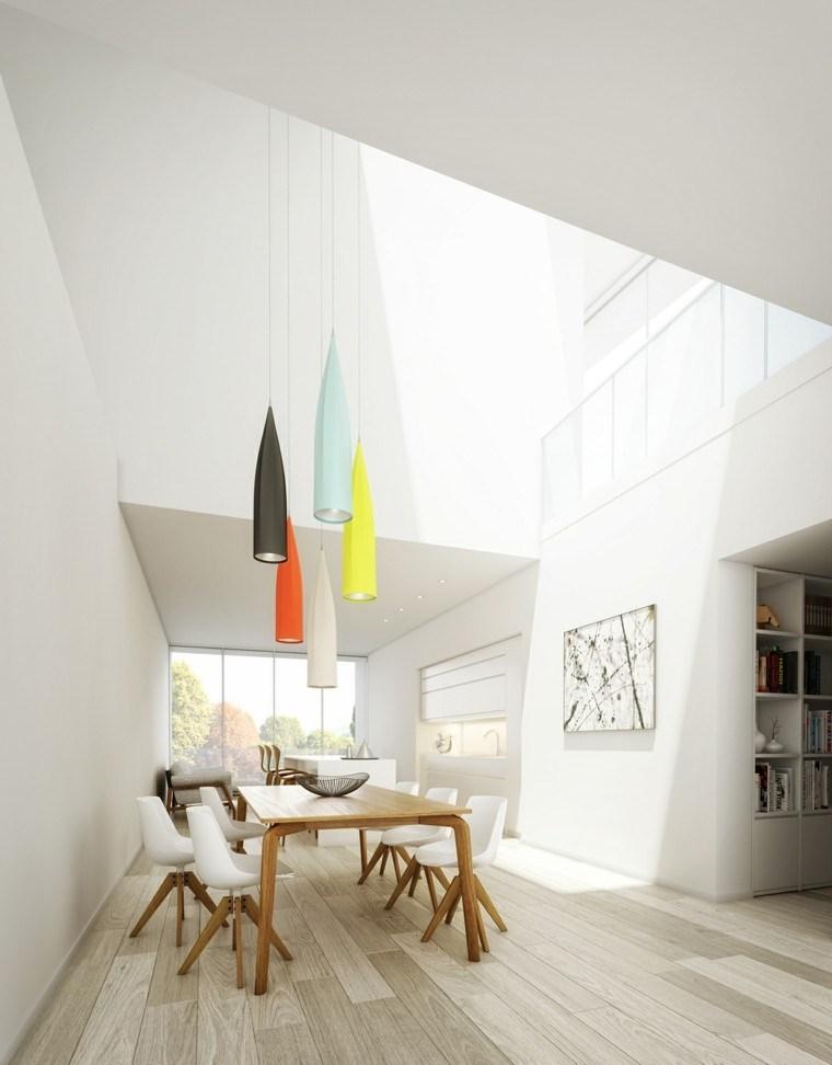 comedor moderno lamparas colgando techo colores ideas
