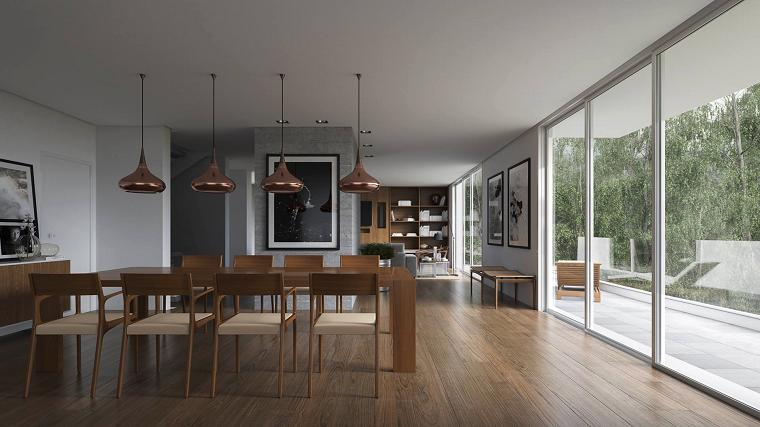 comedor moderno lamparas preciosas muebles madera oscura ideas