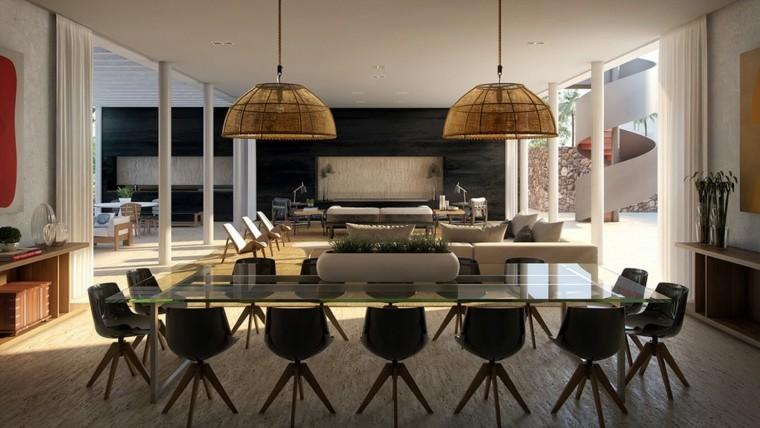 Muebles de comedor con la mesa de vidrio y sillas de colores for Muebles comedor pequea o