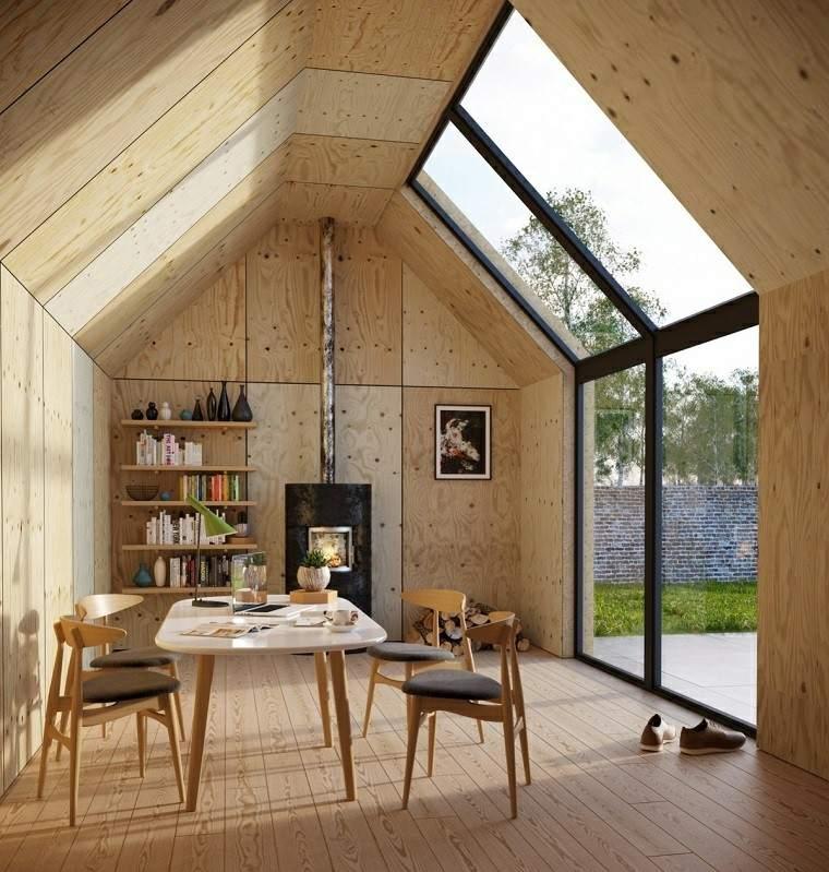 comedor moderno madera chimenea estantes ideas