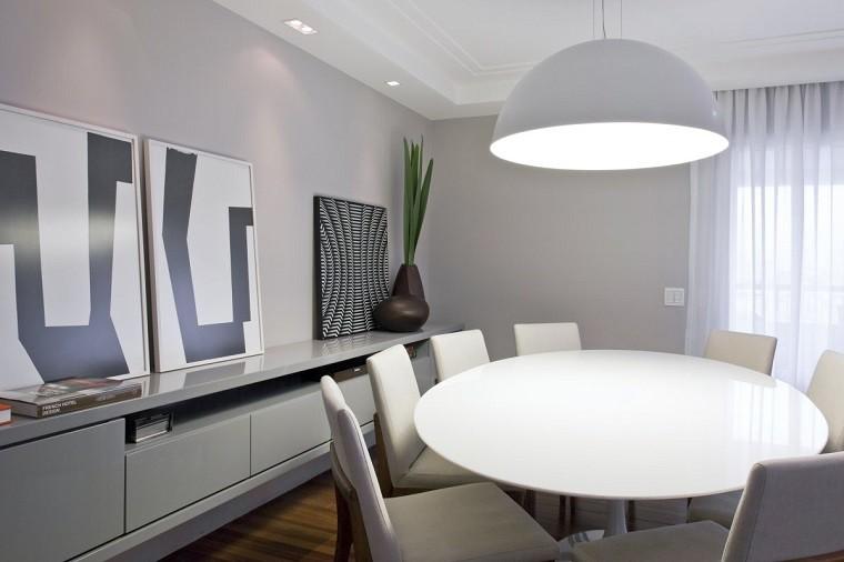 comedor moderno muebles blancos cuadros decorativos ideas