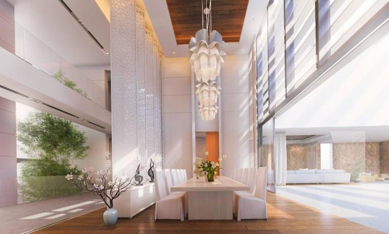 comedor moderno muebles blancos jarrones decorativos ideas