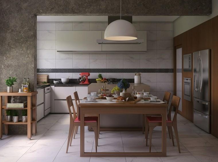 comedor moderno precioso muebles madera lampara blanca ideas