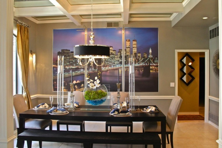 sala comedor diseño techo moderno