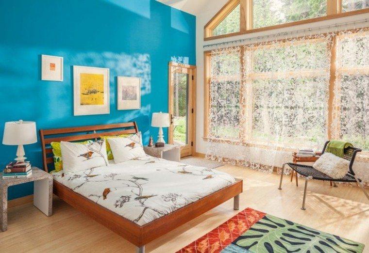 como pintar una habitacion estilo azul madera