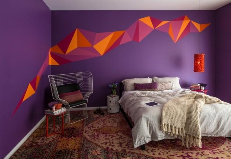 como pintar una habitacion estilo geometrico naranja