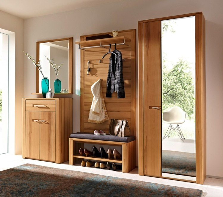 conjunto muebles recibidor madera