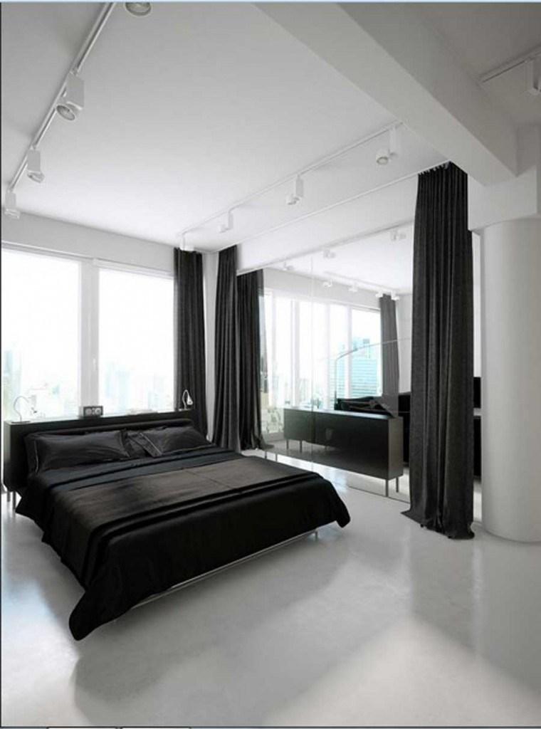 conjunto ropa cama negra cortinas
