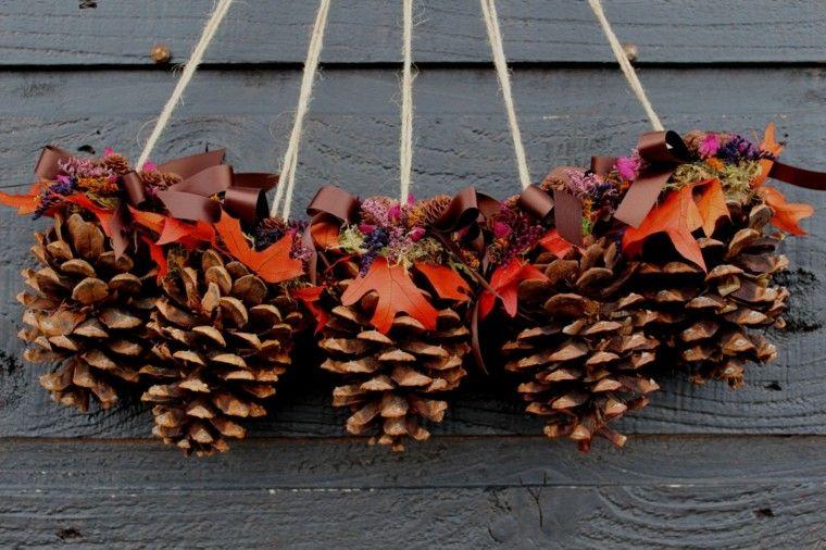 cono cuerdas hojas lazos gris