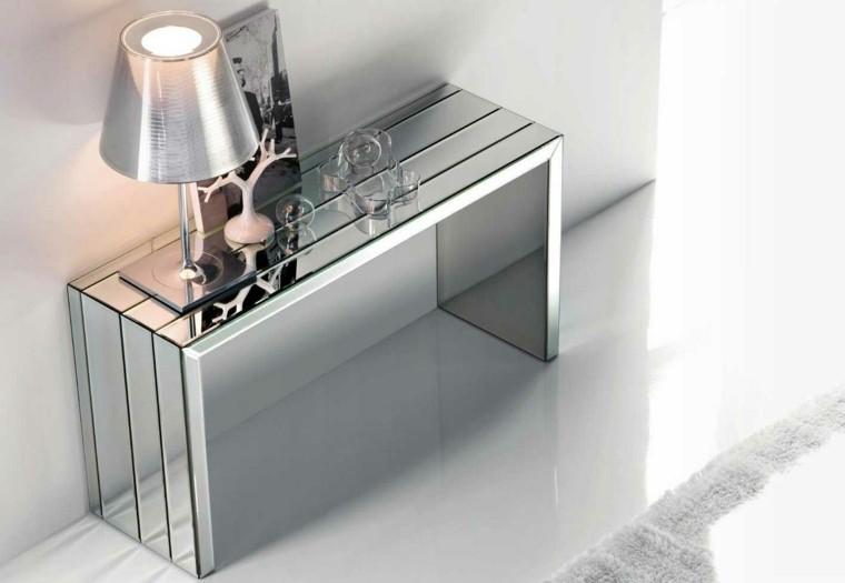 consolas vidrio espejo bombilla mesa