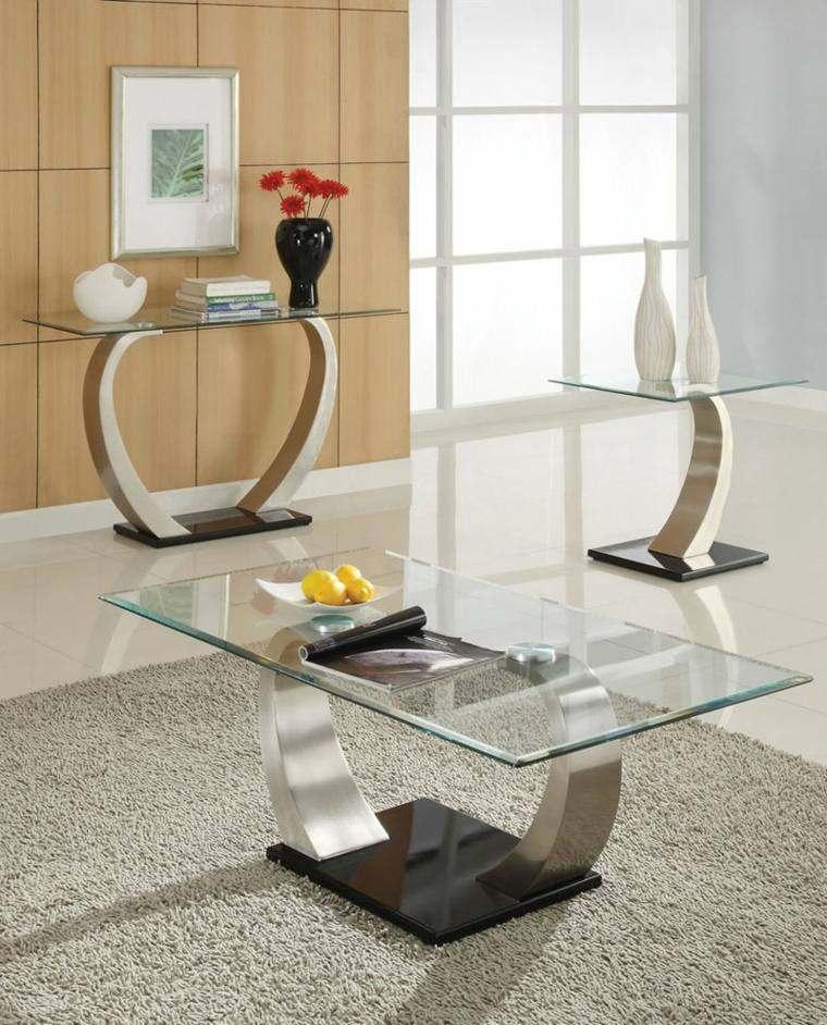 consolas vidrio mesa flores modelos