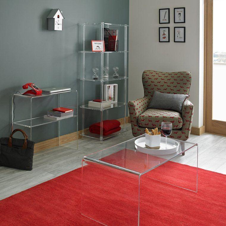 consolas vidrio rojo alfombra suelo