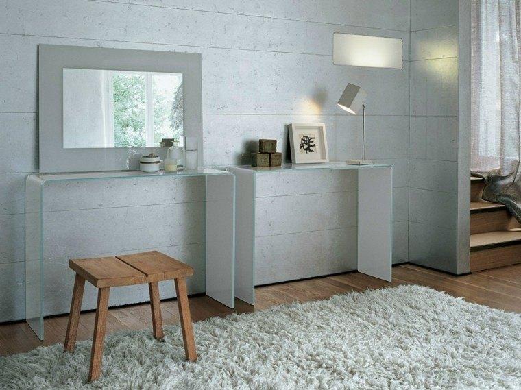 consolas vidrio taburete madera baño