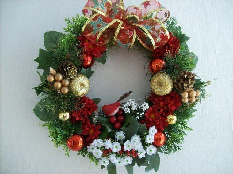 coronas color verde rojo dorado - Guirnalda De Navidad