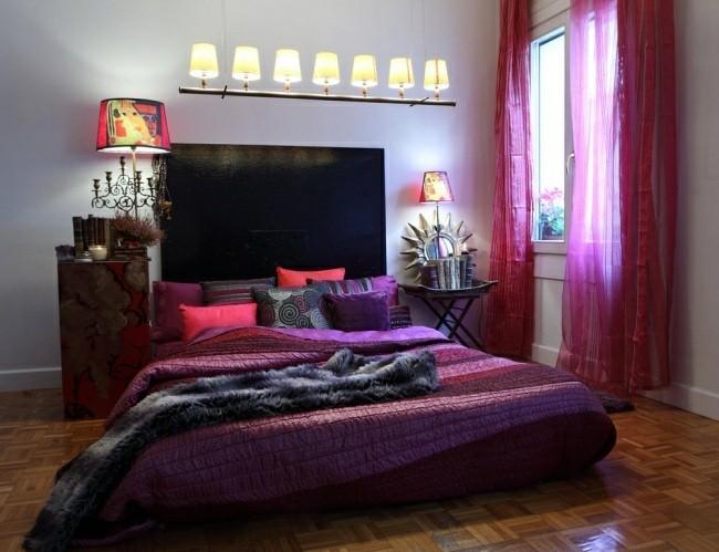 cortinas color rosa fuerte colcha