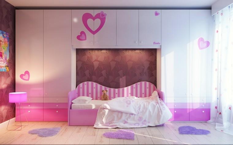 cortinas corazones rosa lampara niña