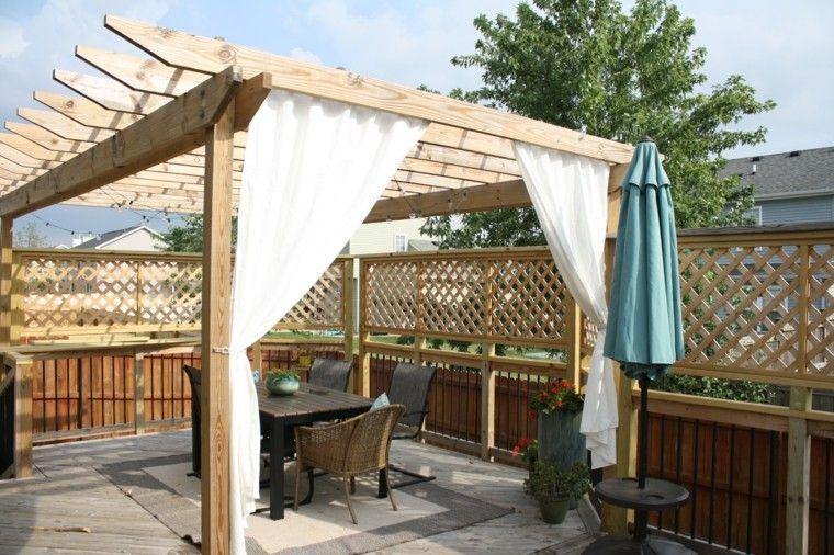 cortinas pergola diy diseño madera