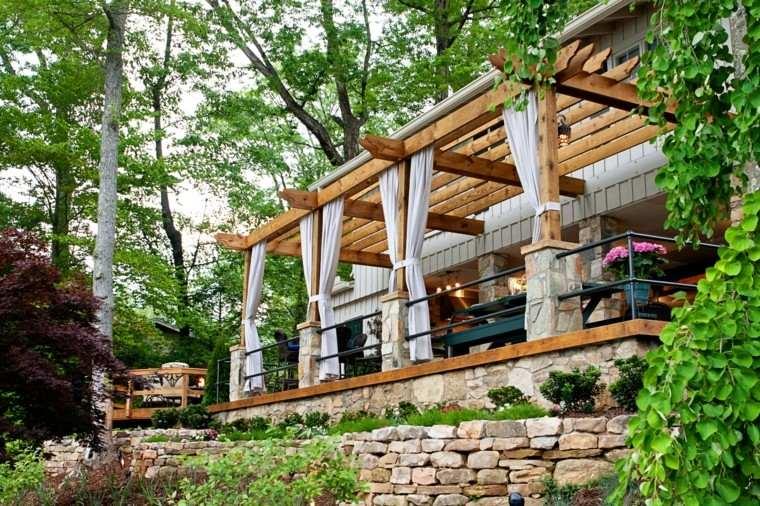 cortinas pergola elevacion arboles bosque trepadoras