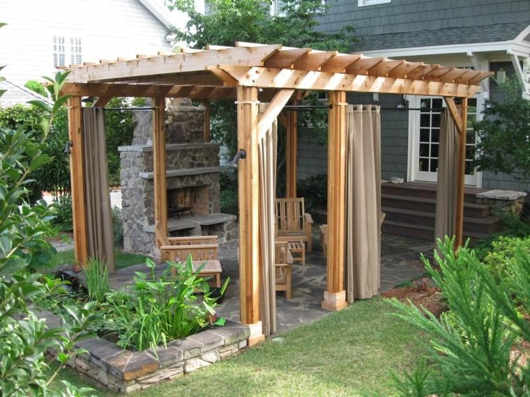 cortinas pergola jardin plantas chimenea