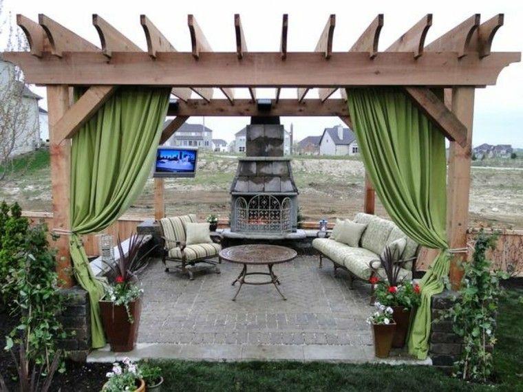 cortinas pergola verde jardin mesa