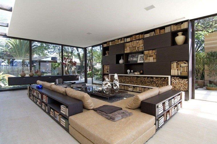 cotemporaneo metala moderno librero salon