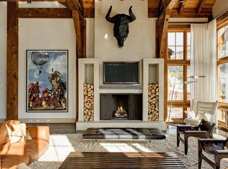 cuadro indios america madera techo