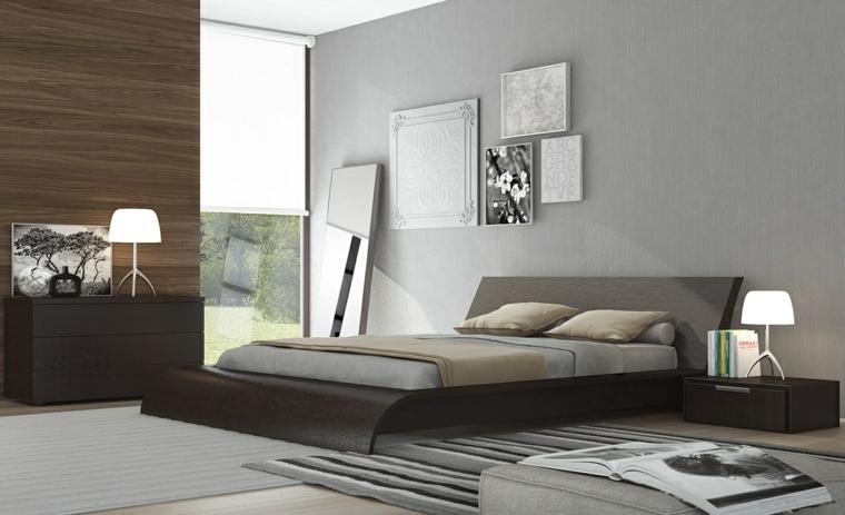 cuadros paredes cama baja madera
