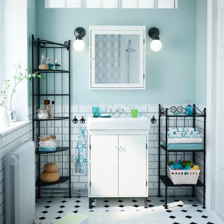 diseño cuarto baño color celeste
