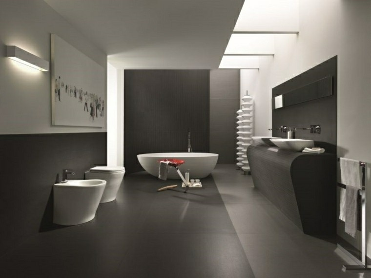 Negro, gris y marrón en el cuarto de baño - 50 diseños