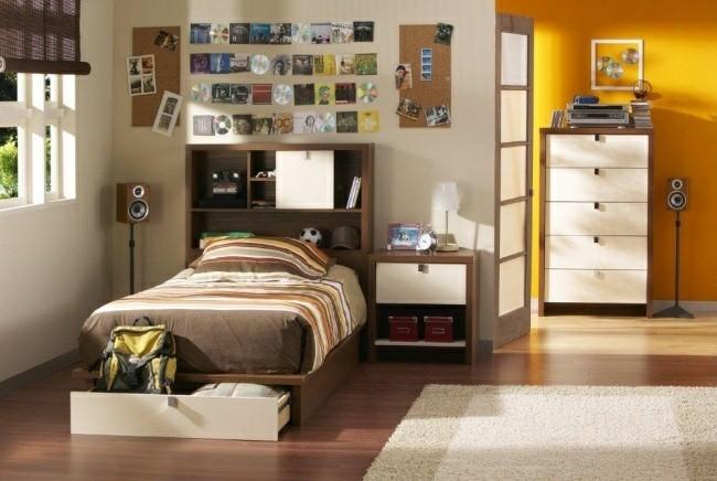 cuarto joven cama color marron