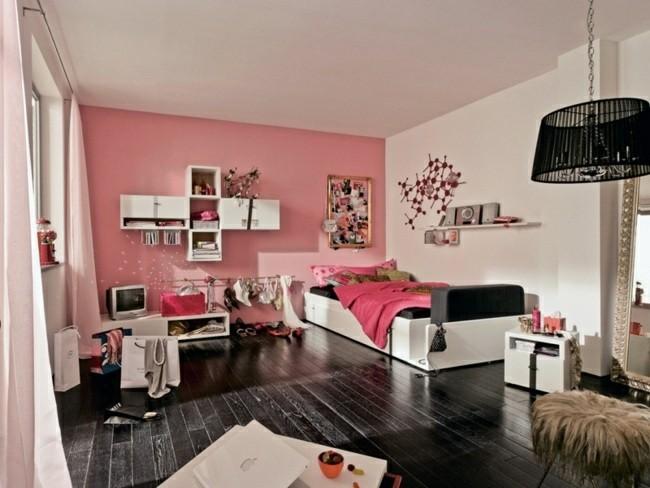 cuarto juvenil pared color rosa