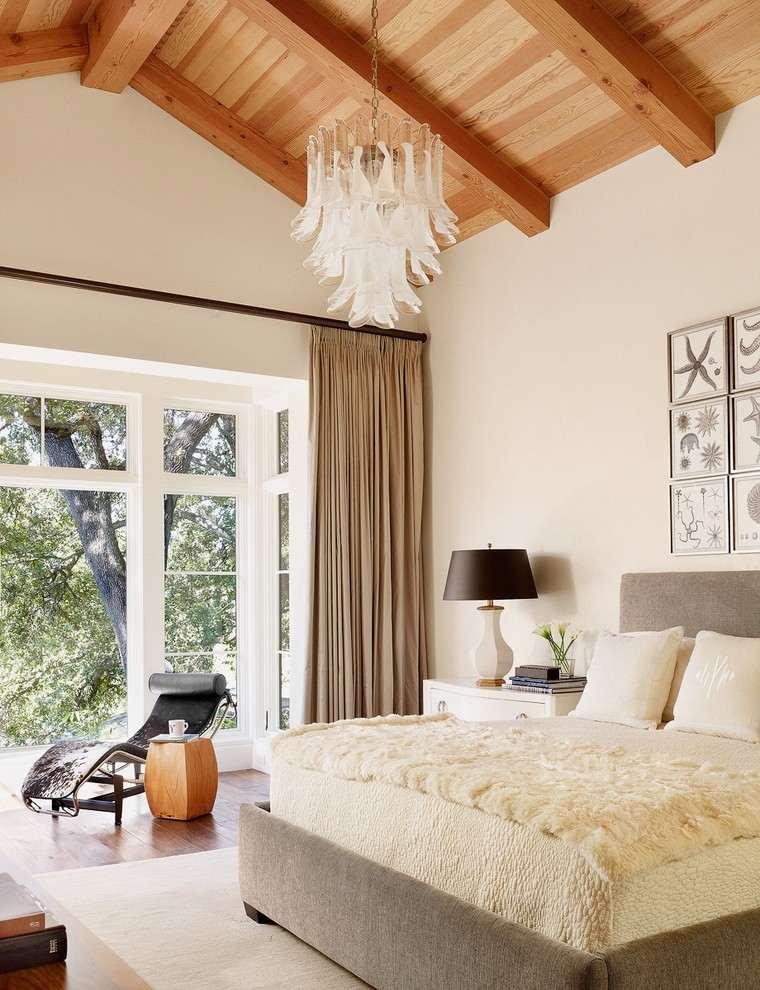 cuarto moderno techo madera natural