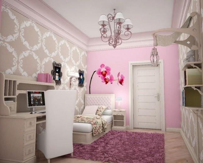 cuarto niña color rosa beige