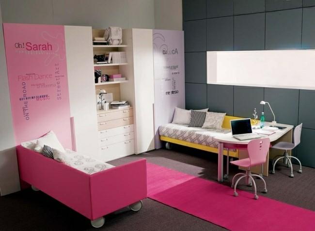 cuarto infantil diseño estilo moderno rosa