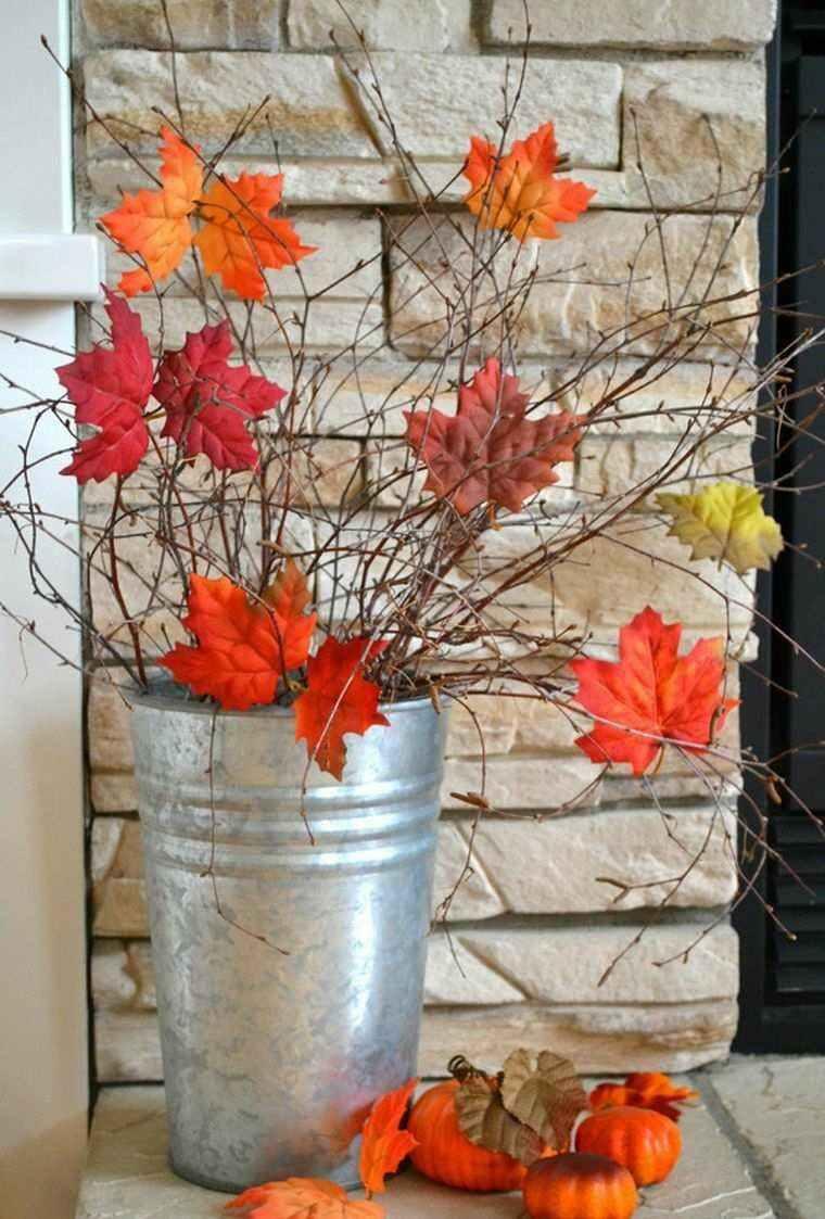 cubo metal decorado ramas hojas