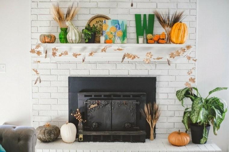 decoracion chimenea hojas calabazas