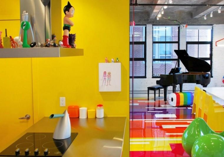 Cocinas pintadas con los colores de moda 50 ideas - Cocinas con colores vivos ...