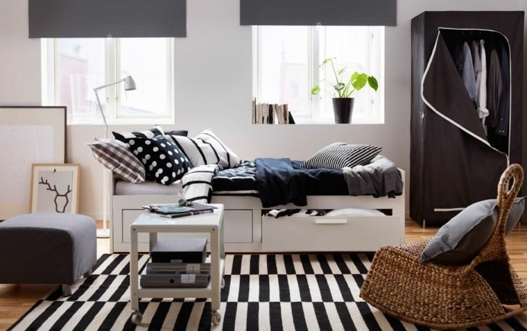 decoracion dormitorio blanco negro