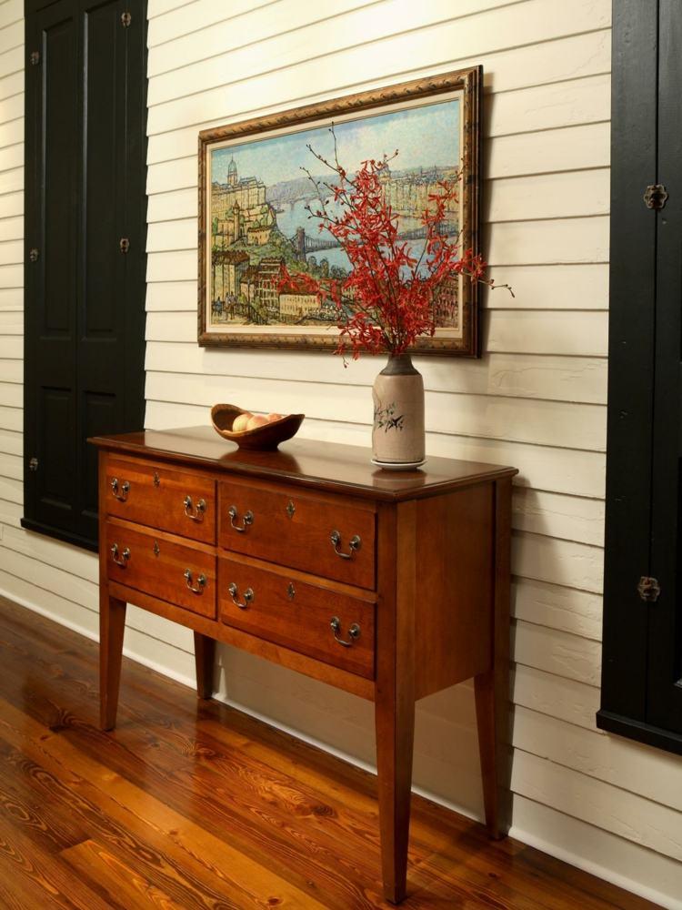 decoracion entrada comoda madera