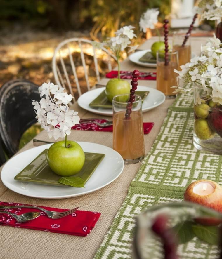 decoracion mesa manzana plato