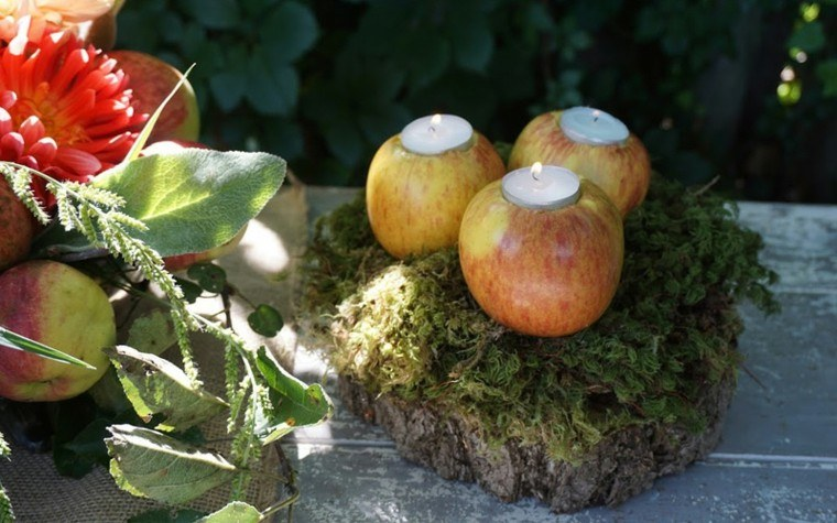 decoracion otoño manzanas velas