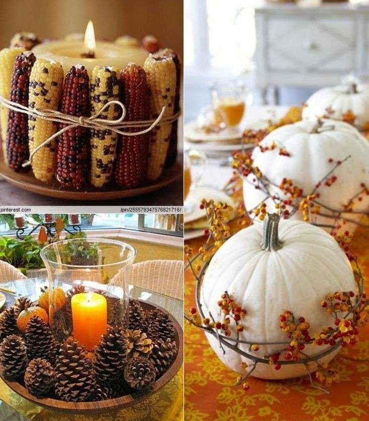 decorar piñas calabazas maiz