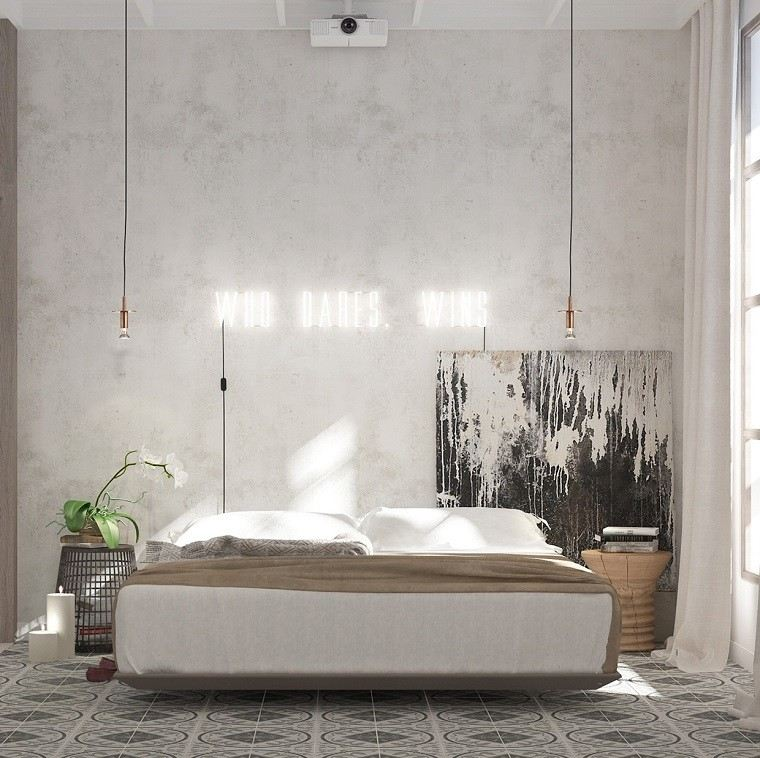 decoracion apartamentos modernos arte dormitorio velas mesitas noche ideas