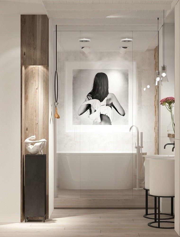 decoracion apartamentos modernos bano flores frescas cuadro ideas