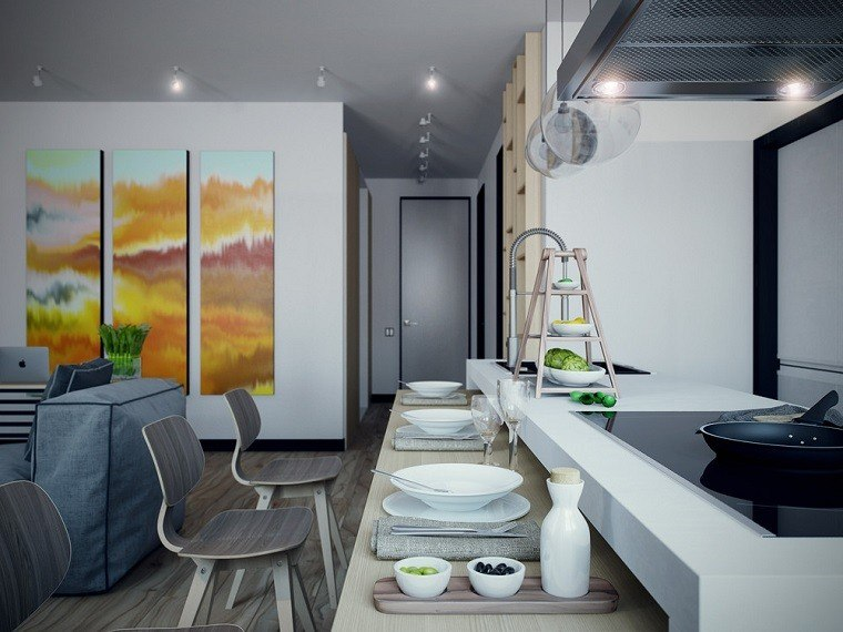 decoracion apartamentos modernos cocina abierta salon cuadros decorativos ideas