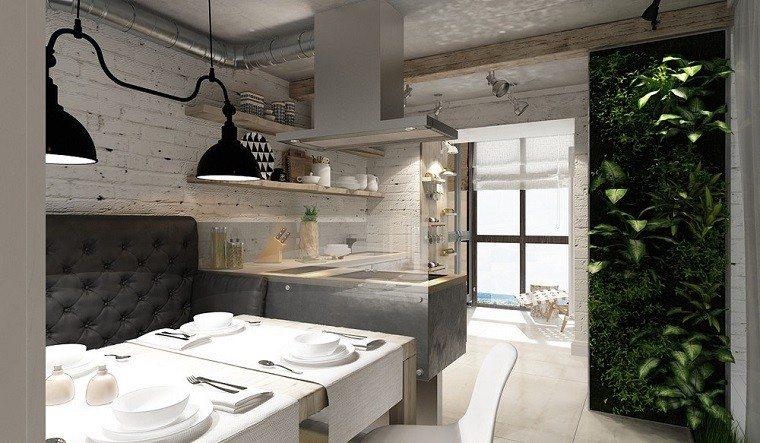 decoracion apartamentos modernos cocina jardin vertical ideas